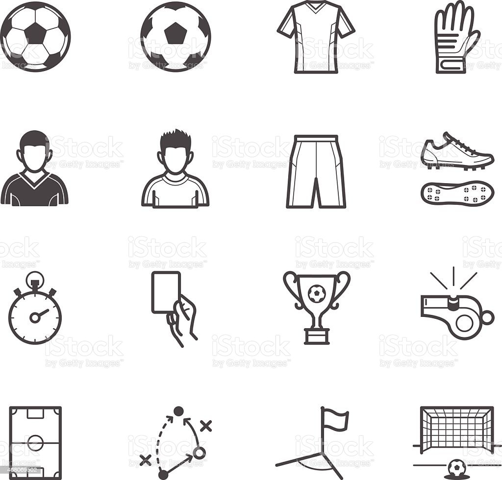 Set of soccer and accessories icons vector art illustration