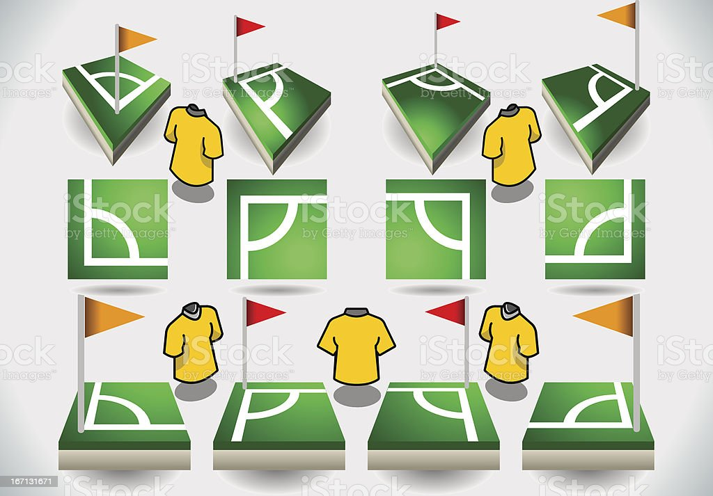 Set of Soccer Corner and Icons royalty-free stock vector art