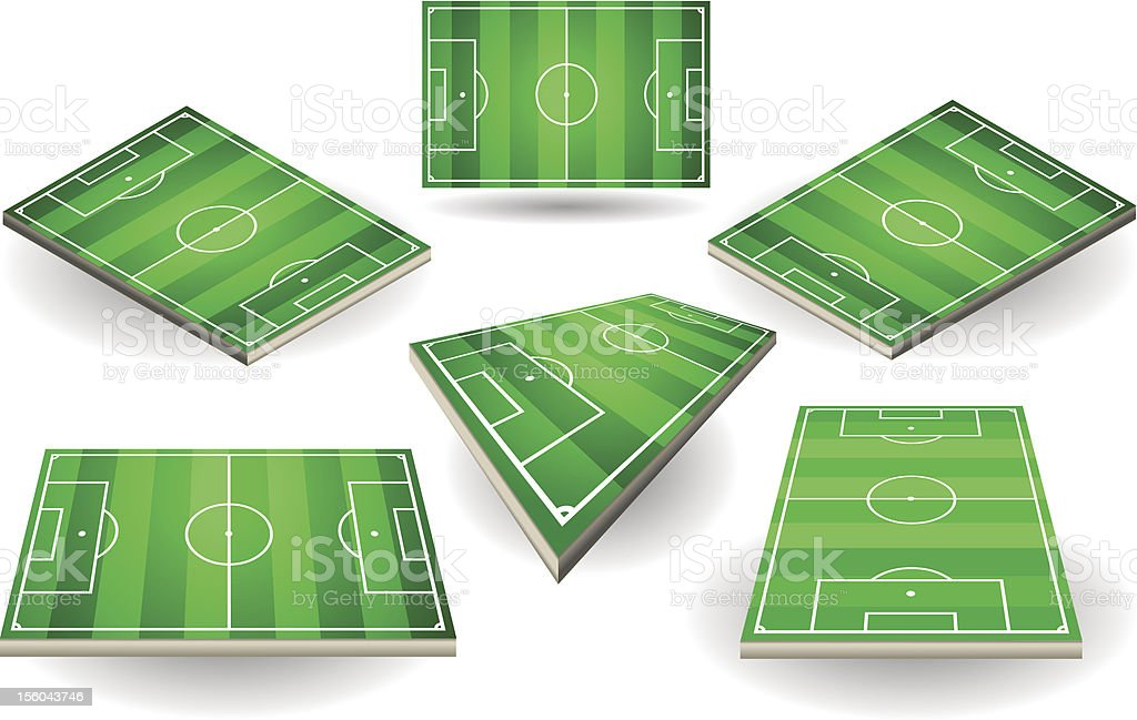 set of Soccer fields in six different positions vector art illustration