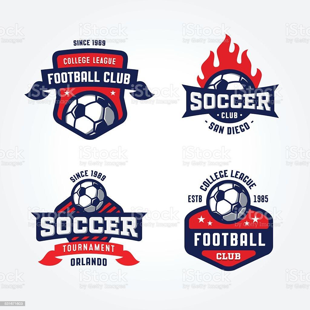 Set of Soccer Football Badge Designs vector art illustration