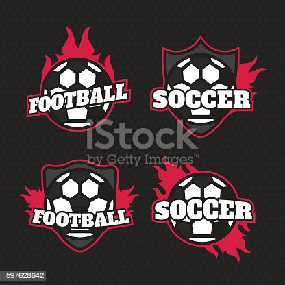 Set Of Soccer Football Badge Logo Design Templates Sport Team Stok
