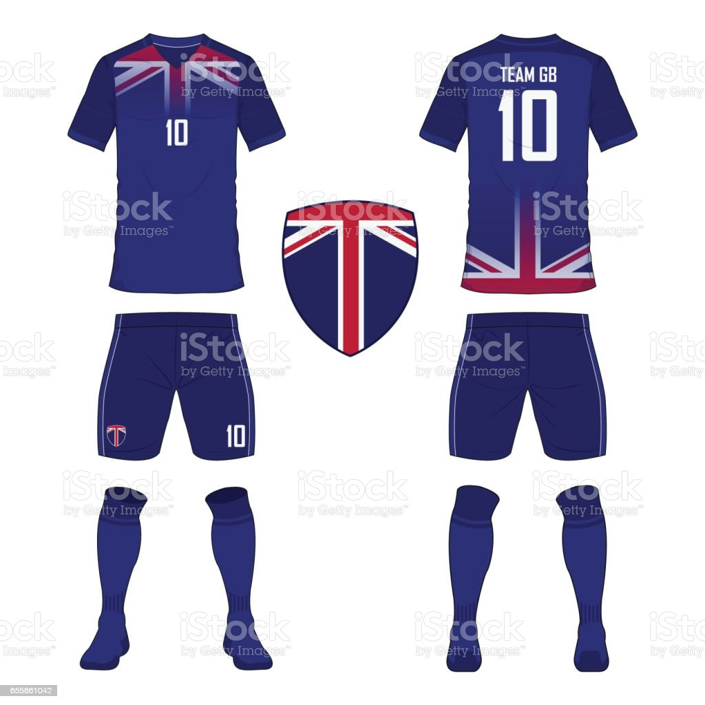 set of soccer jersey or football kit template for united kingdom