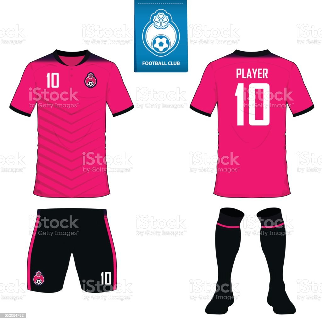 Set of soccer kit or football jersey template for football club. Flat football logo on blue label. Front and back view soccer uniform. Vector. vector art illustration