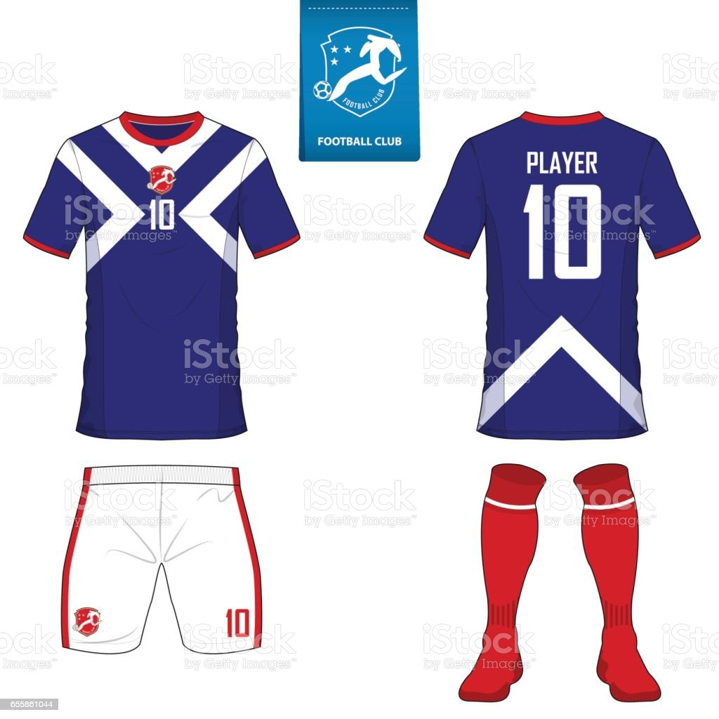 Set of soccer kit or football jersey template for football club. Flat football on blue label. Front and back view soccer uniform. vector art illustration
