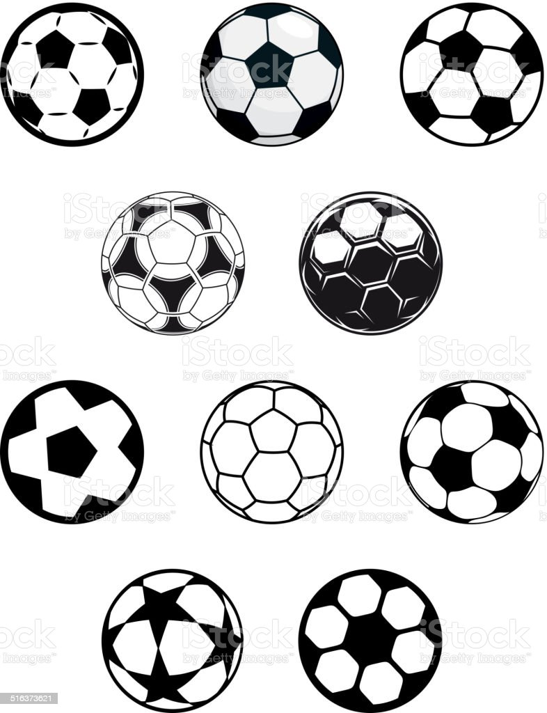 Set of soccer or football balls vector art illustration
