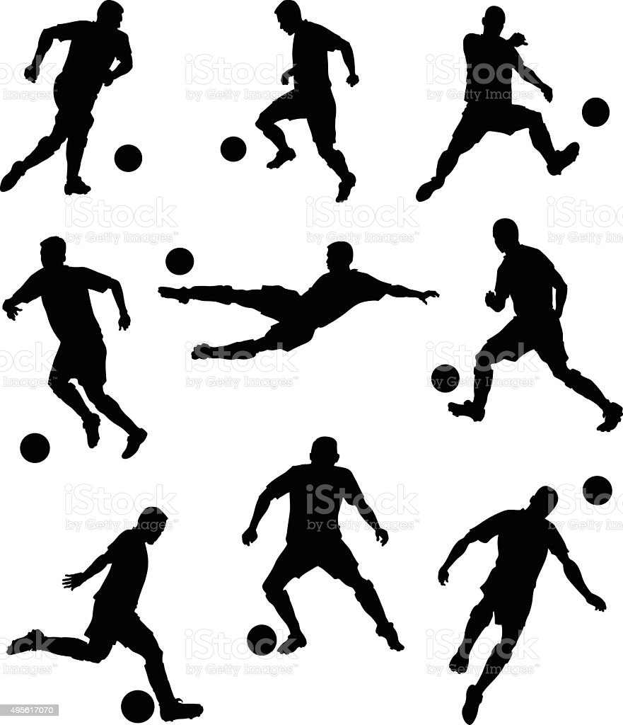 Set of Soccer Players Silhouettes vector art illustration