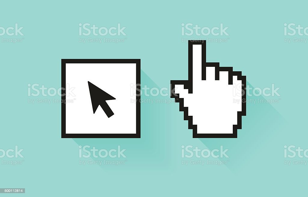 Set of social media icon. Pixel hand and botton with vector art illustration