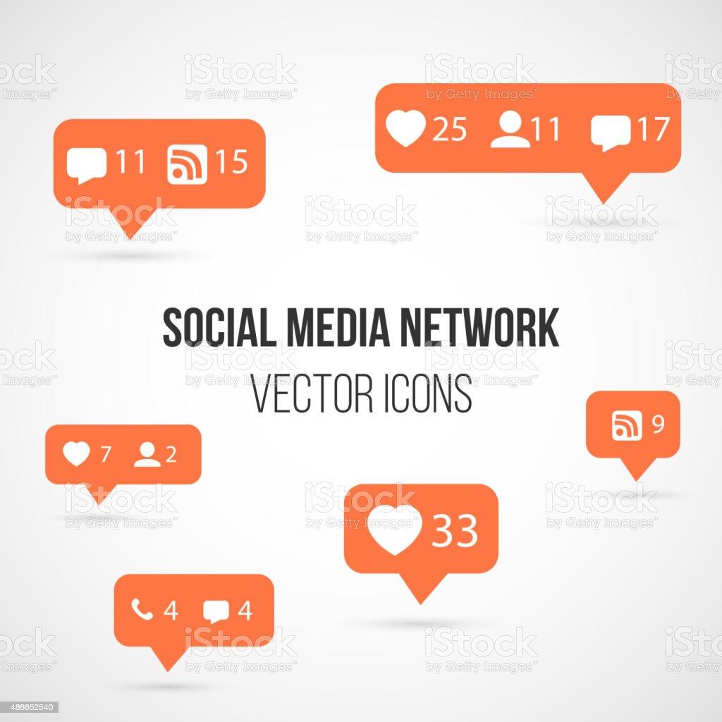 Set of Social Media Network Vector Icons. Include Like, Follow, vector art illustration