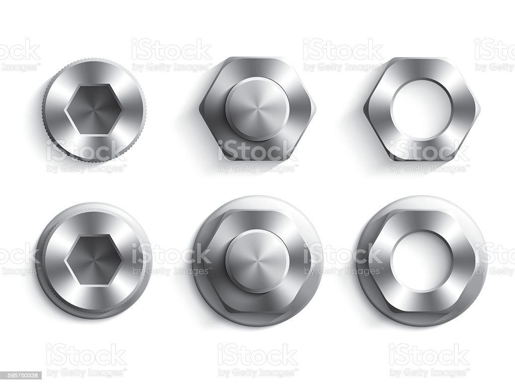 Set of socket hexagon head bolts, nut and washers vector art illustration