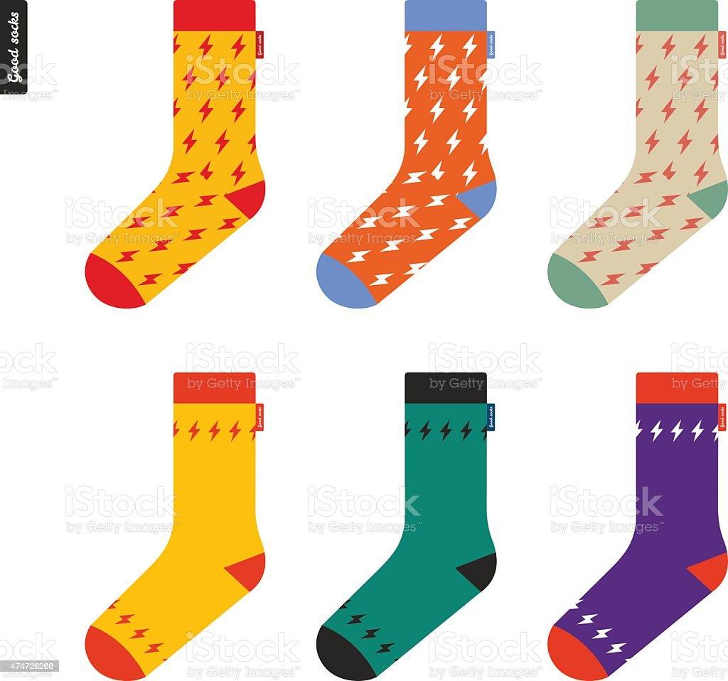 Set of socks with flash pattern Original hipster design vector art illustration