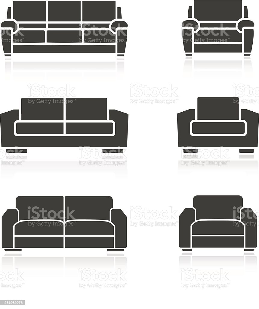 Set of sofas and armchairs vector art illustration