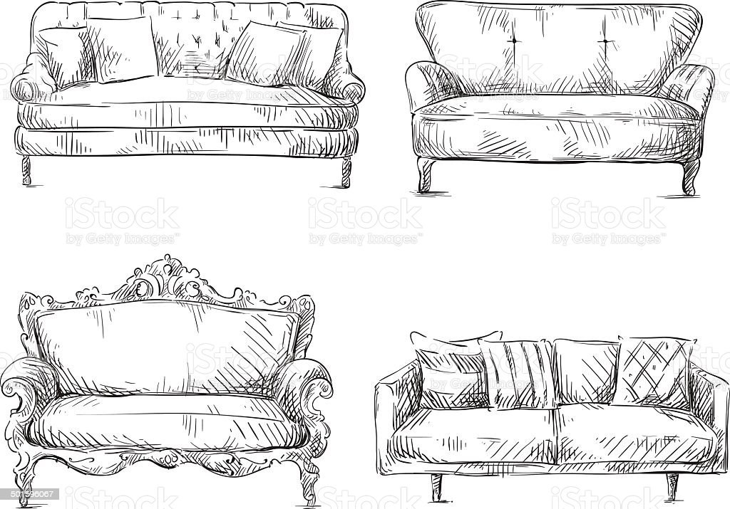 Set of sofas drawings sketch style vector illustration for Couch zeichnen