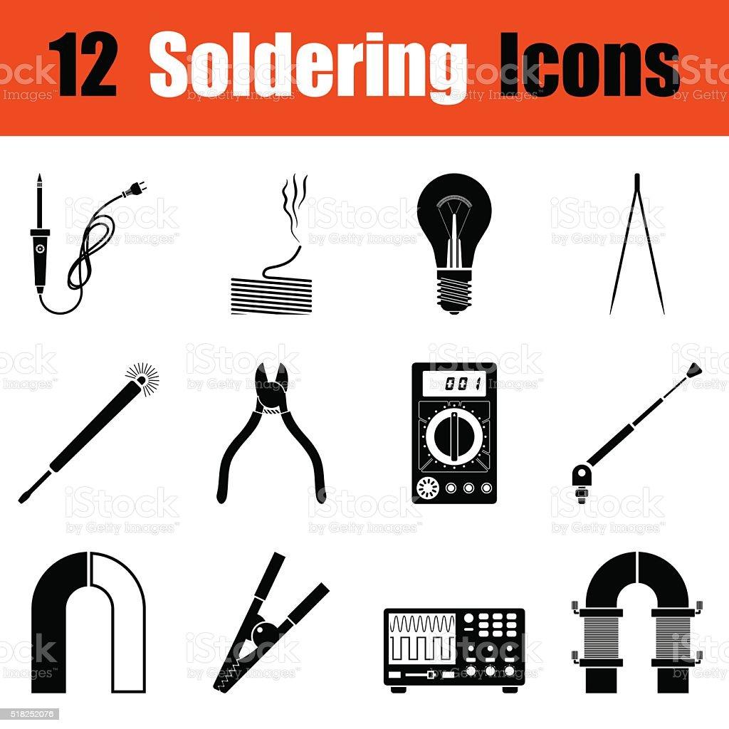 Set of soldering  icons vector art illustration