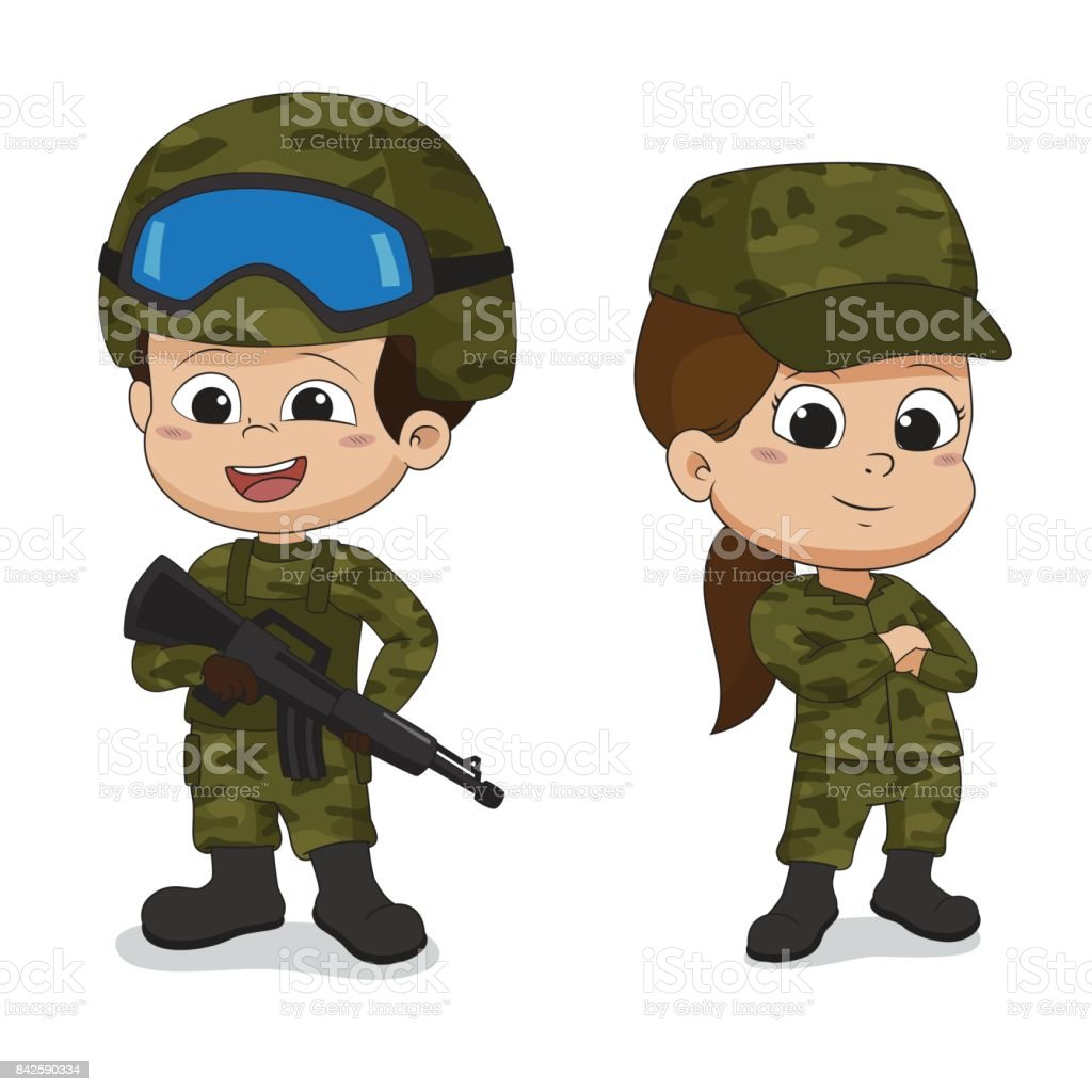 Set of soldiers.Cartoon character design isolated on white background. vector art illustration