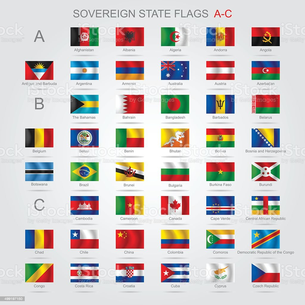 Set of sovereign state flags A-C vector art illustration