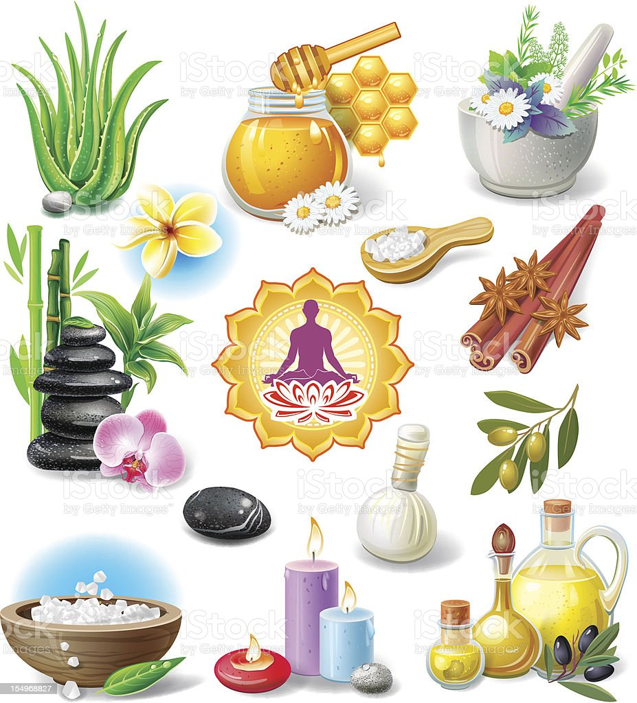 Set of spa treatment symbols vector art illustration