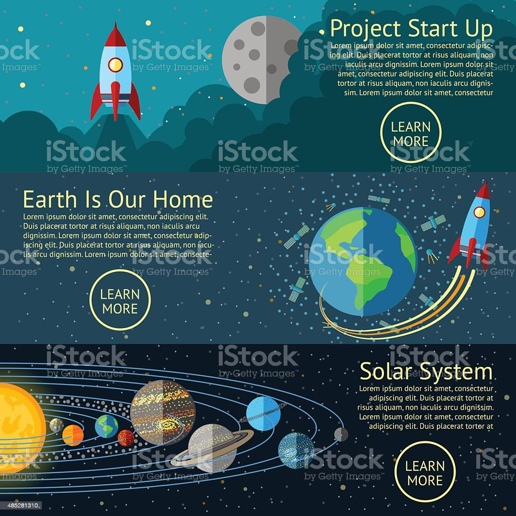 Set of Space banners concepts - Rocket start up, Earth vector art illustration