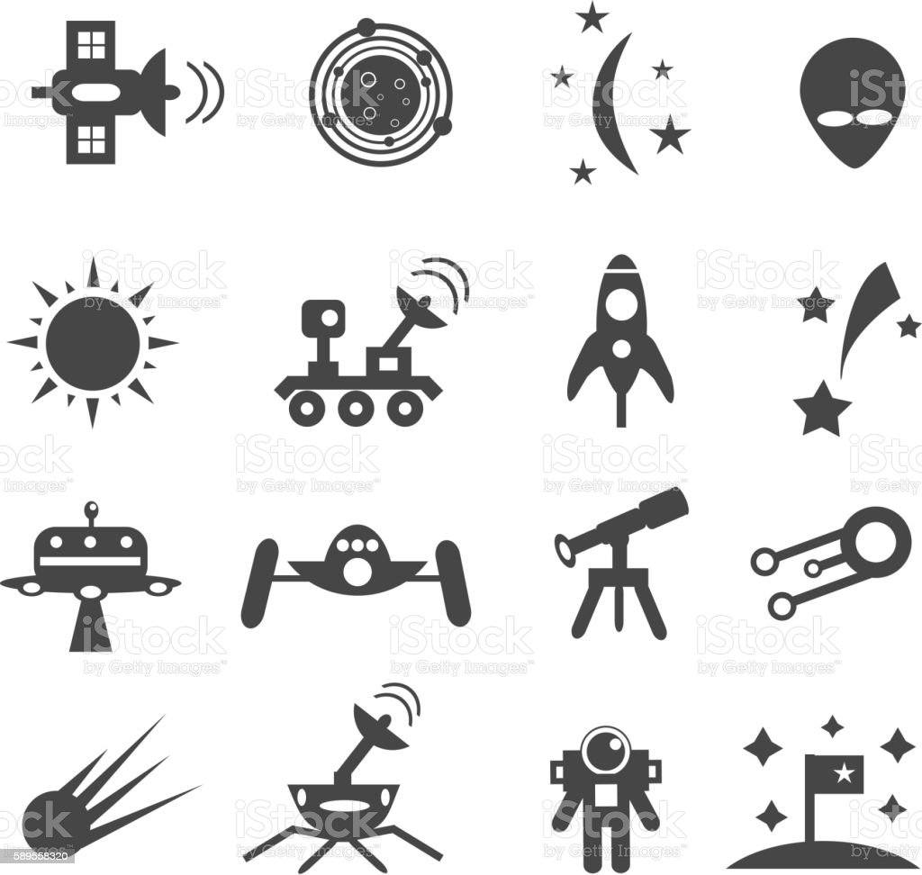 Set of space icons vector art illustration