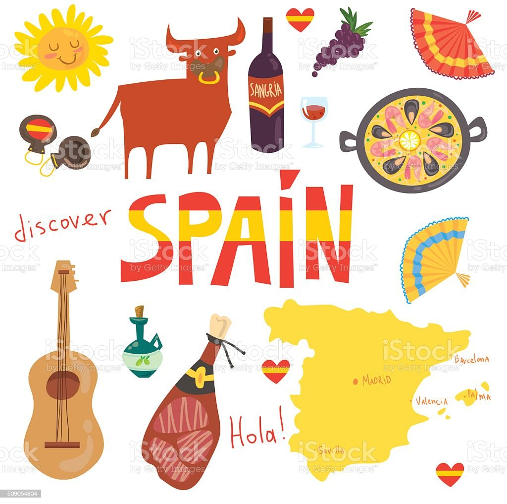 Set of Spanish symbols vector art illustration