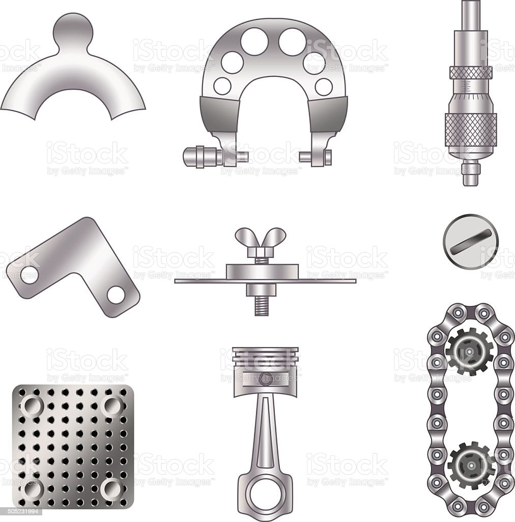 Set of spare parts vector art illustration
