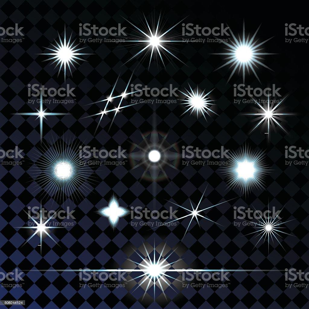 Set of sparkle lights with transparency effects. Vector illustration. vector art illustration