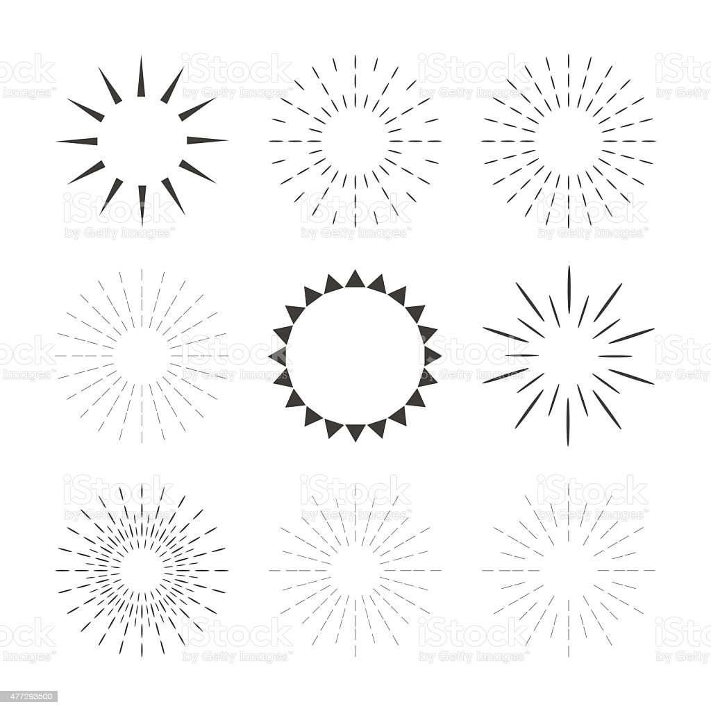 Set of sparkles and starbursts with rays. Design elements vector art illustration