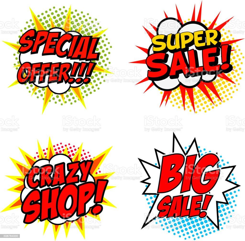 Set of Special Offer!!! Super Sale! Crazy SHOP! vector art illustration