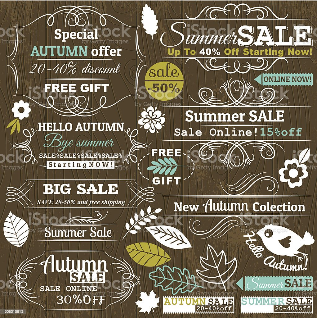 Set of special sale offer labels and banners, vector vector art illustration
