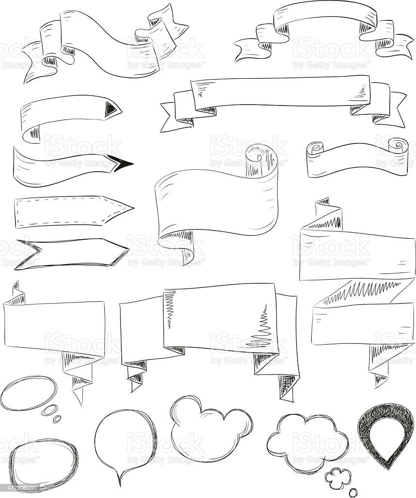 Set of speech bubbles and arrows. royalty-free stock vector art