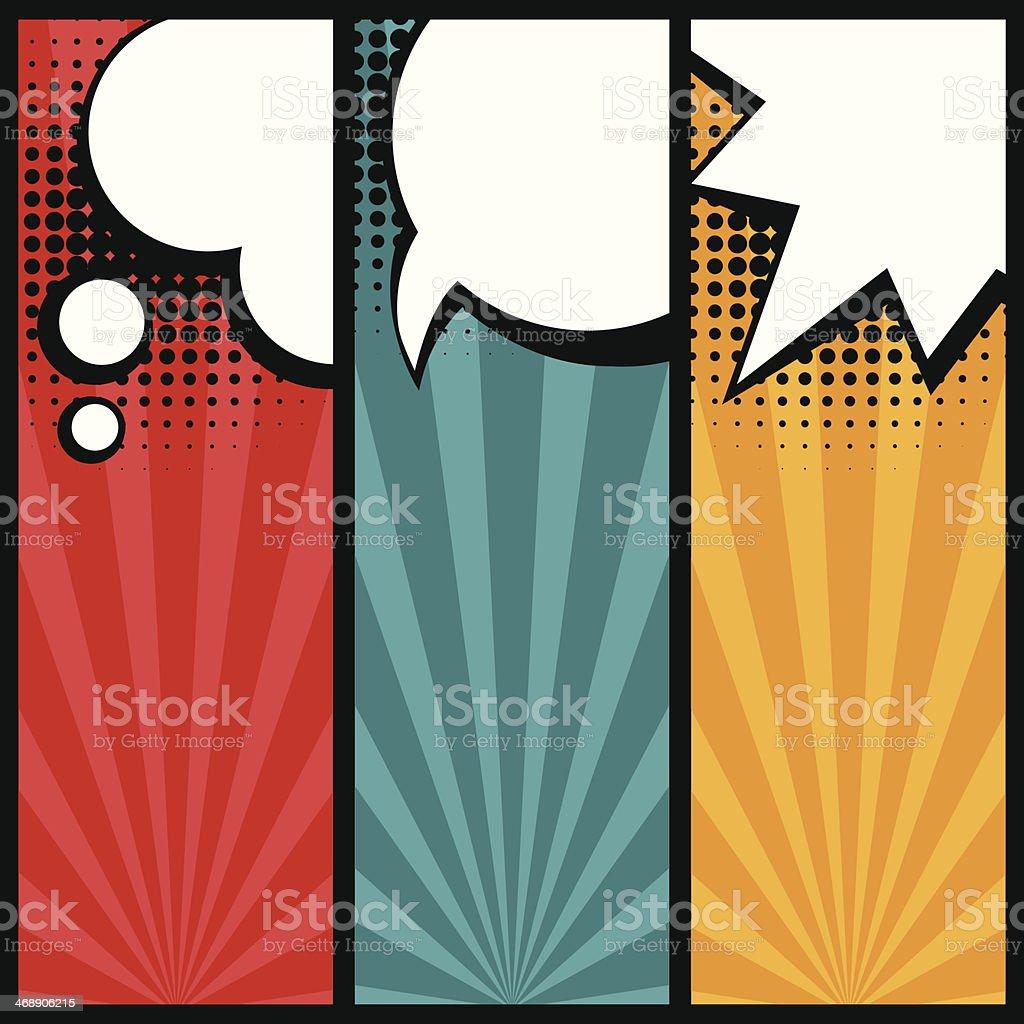 Set of speech bubbles in pop art style. vector art illustration