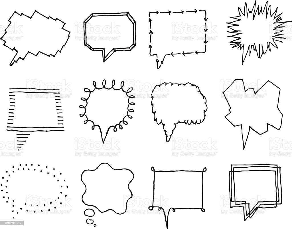 Set of speech bubbles wiith personality 2 royalty-free stock vector art