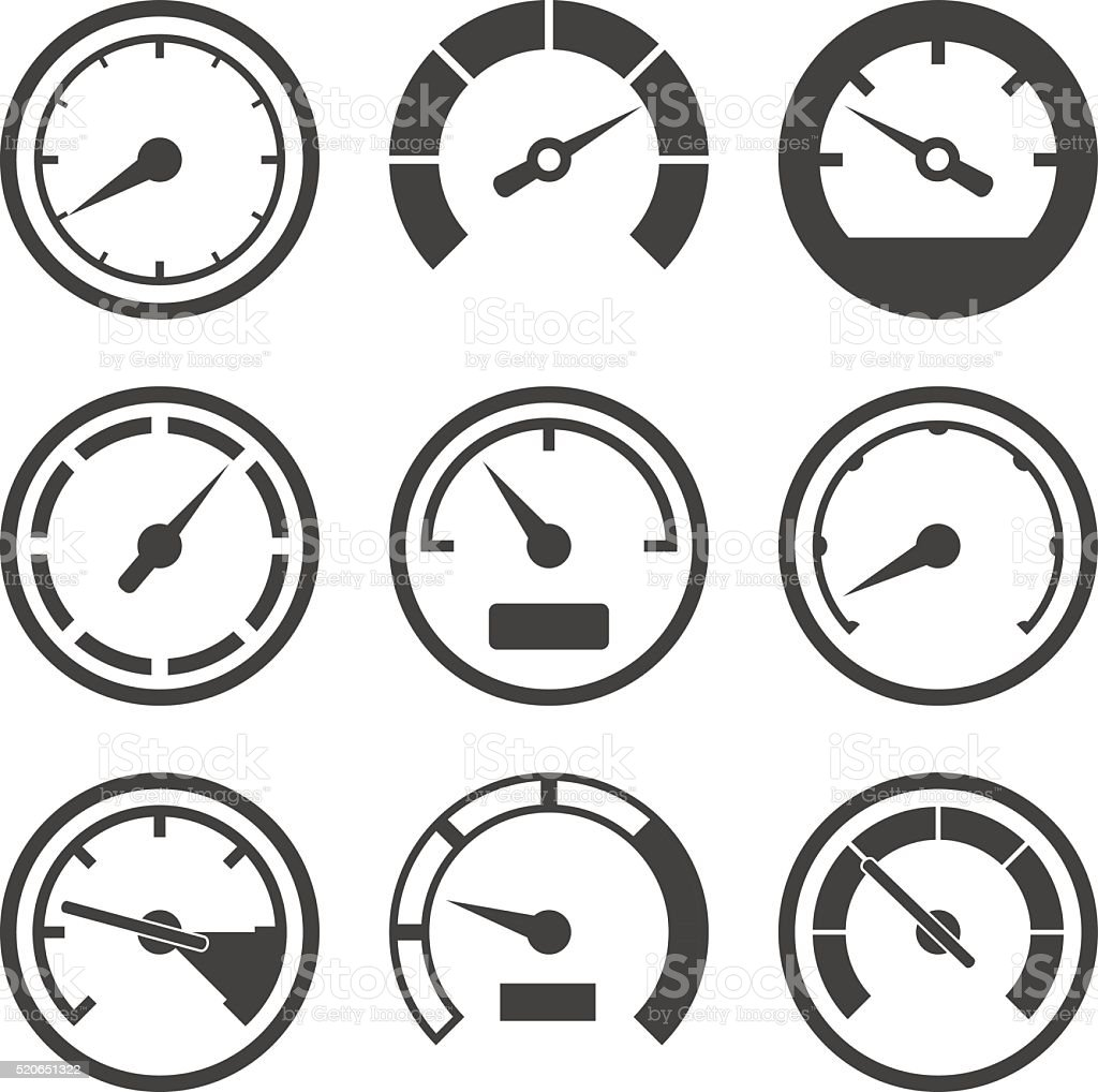 Set of speedometers and dashboard device scales vector art illustration