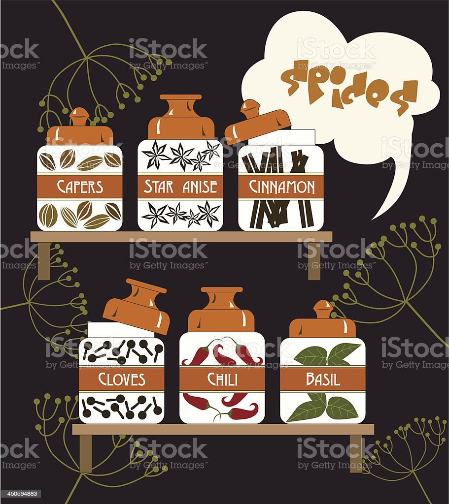 Set of spices and herbs royalty-free stock vector art