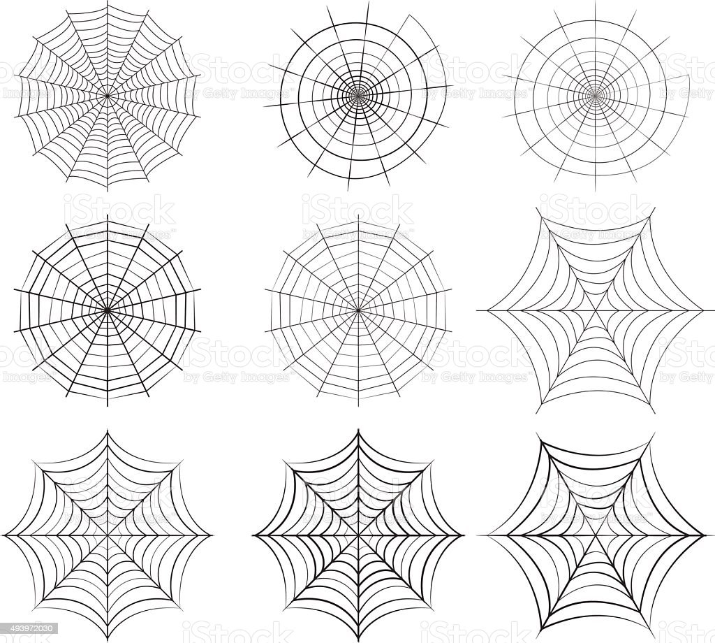 Set of spider web in silhouette style vector art illustration