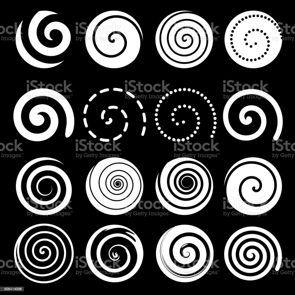 Set of spiral motion elements, white isolated objects, vector vector art illustration