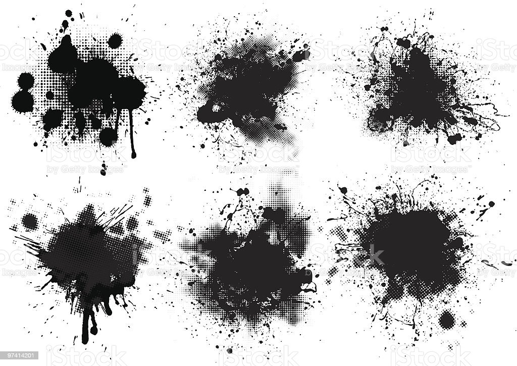 set of splashes vector art illustration