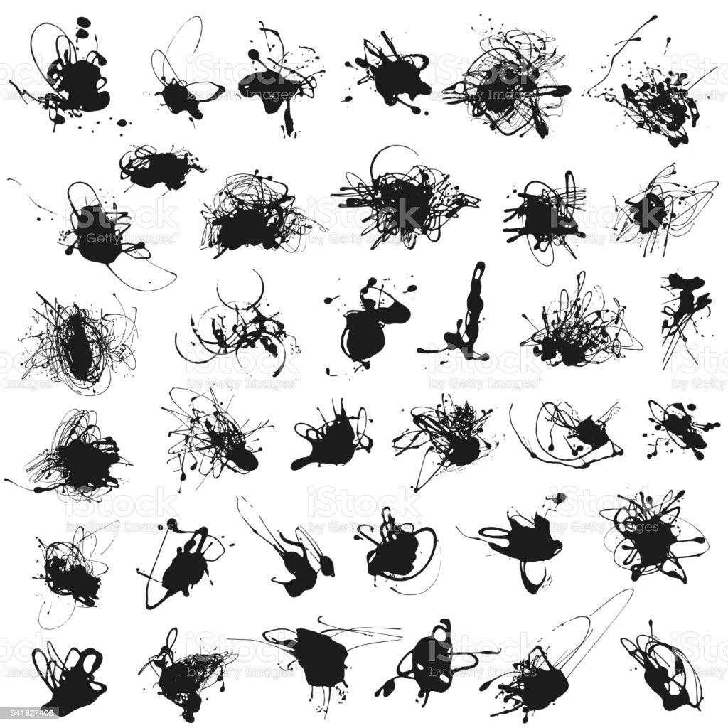 Set of splatter paint stains isolated vector art illustration