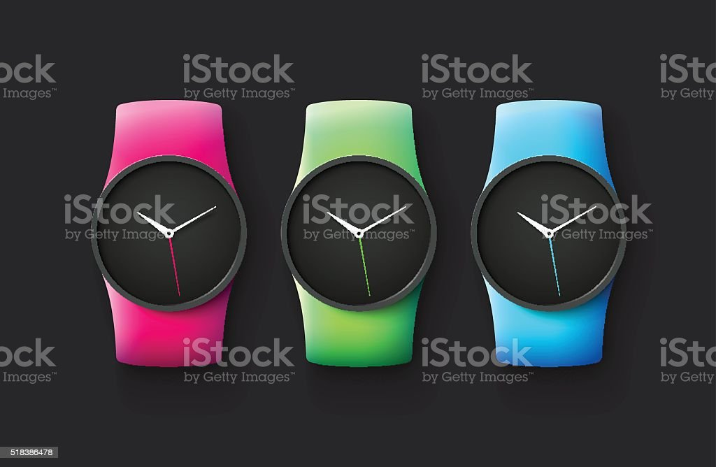 Set of sport and fashion smart wrist watches vector art illustration