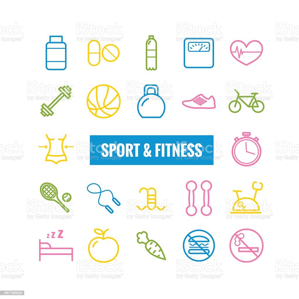 Set of sport and fitness outline icons vector art illustration