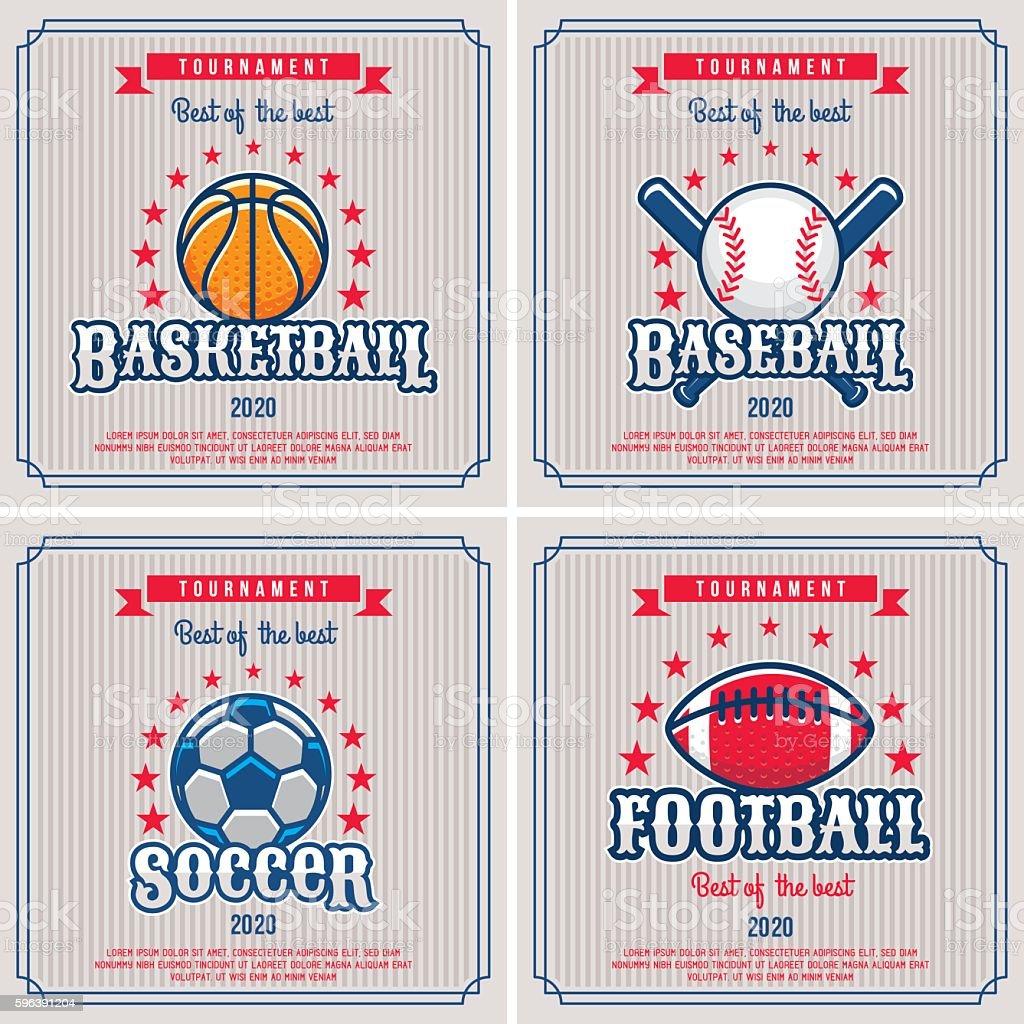 Set of sport badge, emblem tournament in vintage retro style template.