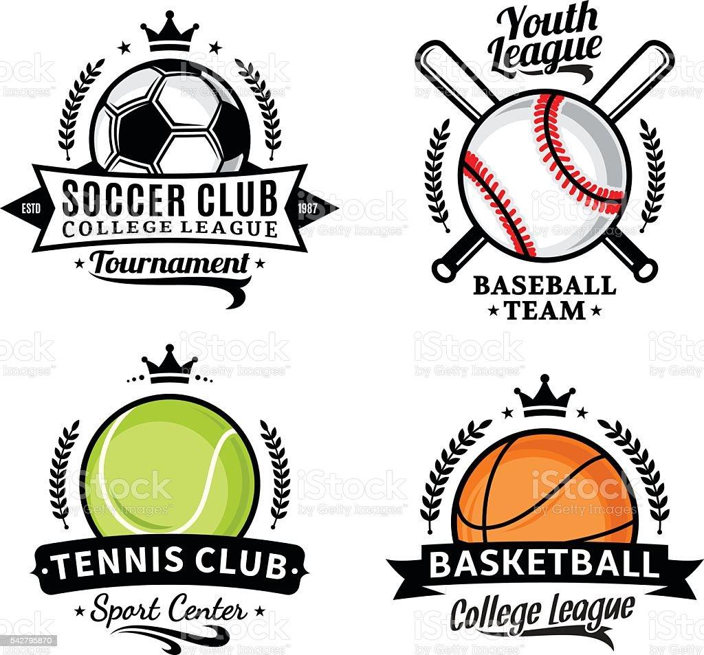 Set of sport team labels for four sport disciplines vector art illustration