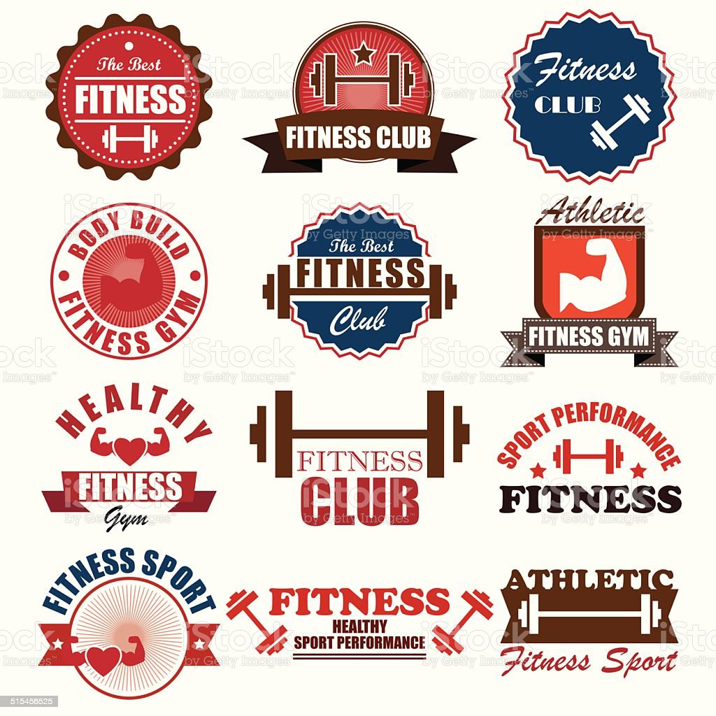 Set of sports and fitness logo graphics and icons badge vector art illustration