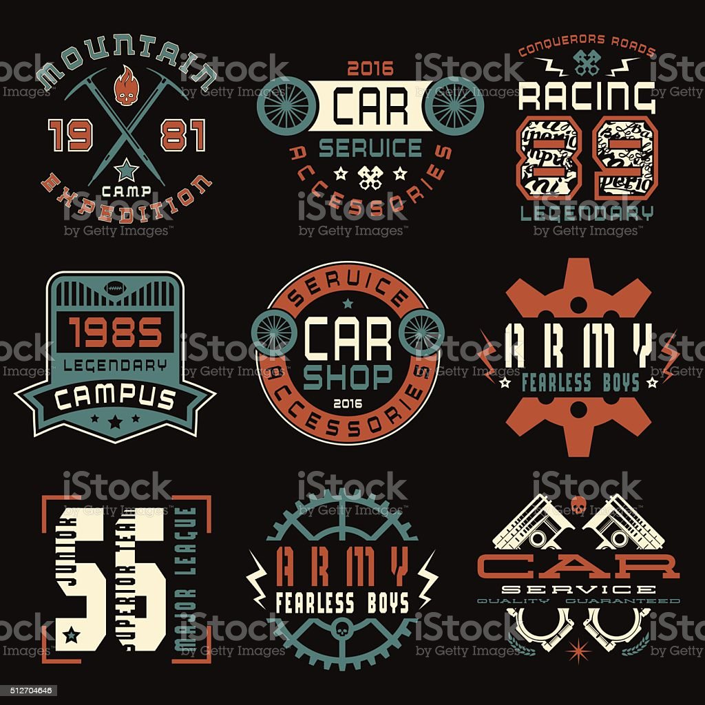 Set of sports, car service and military emblems vector art illustration