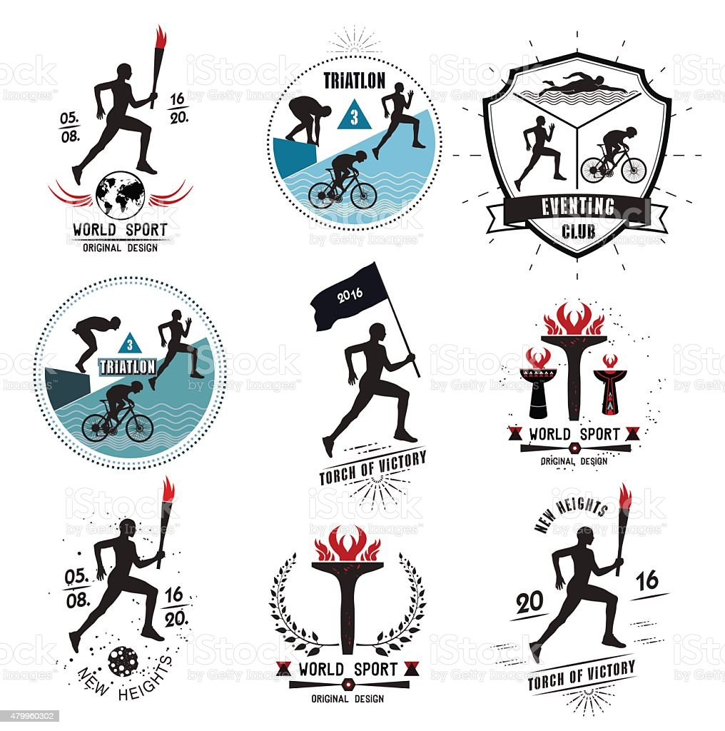 Set of Sports logos and emblems vector art illustration