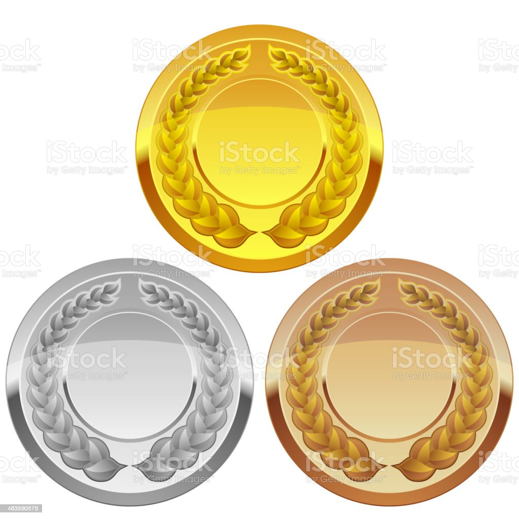 Set of Sports Medal vector art illustration