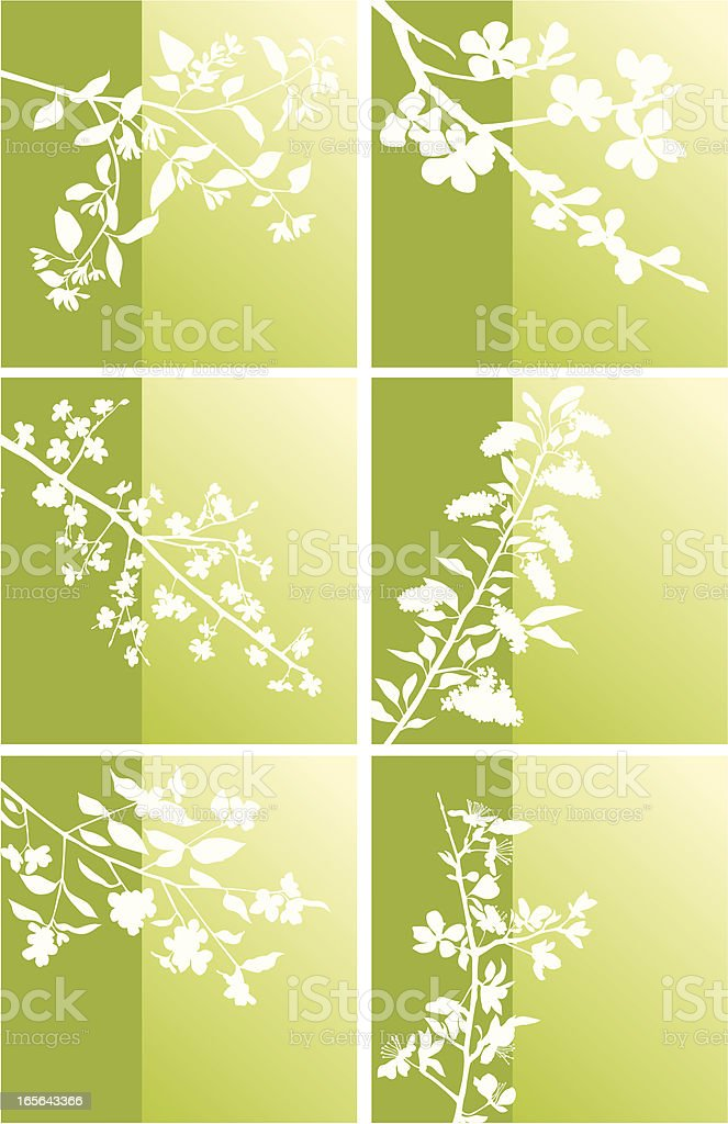 Set of spring blossomed branches royalty-free stock vector art