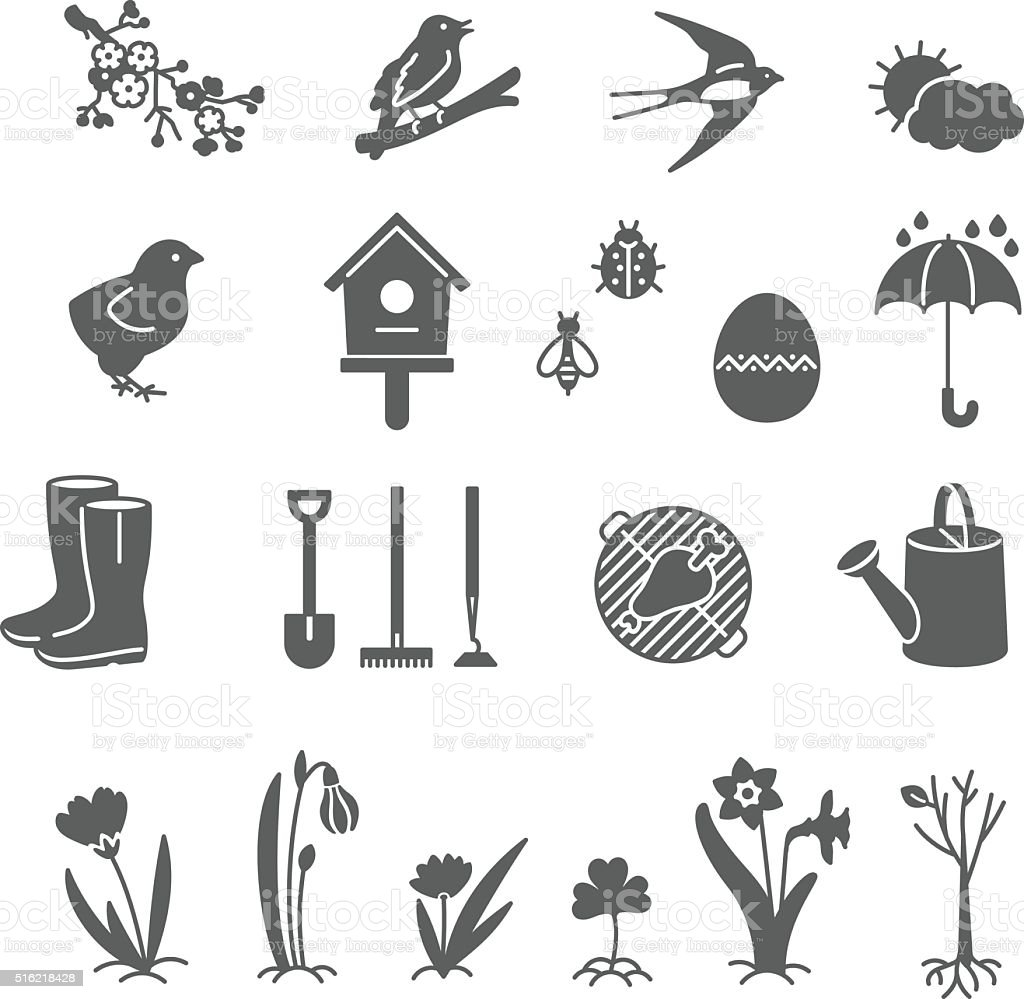 Set of Spring Line icons. vector art illustration