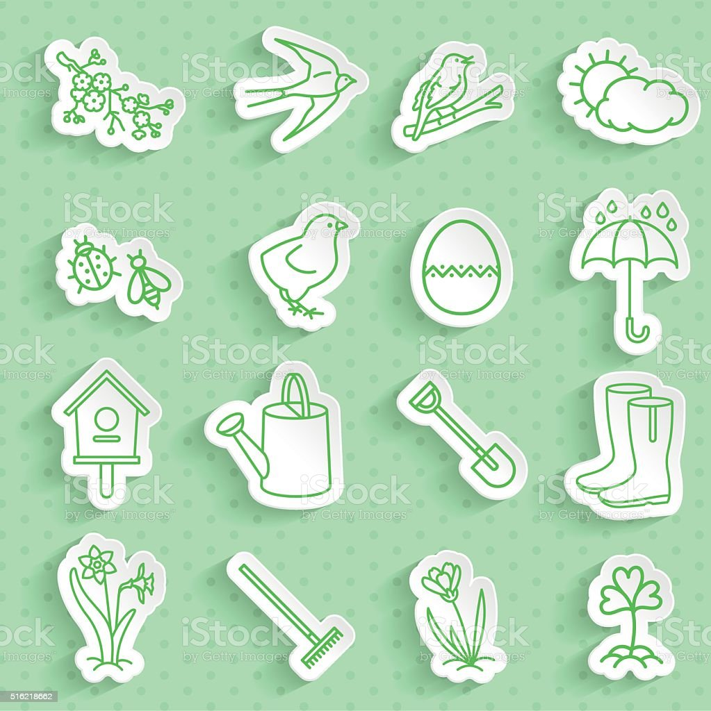 Set of Spring Paper Stickers with shadow. vector art illustration