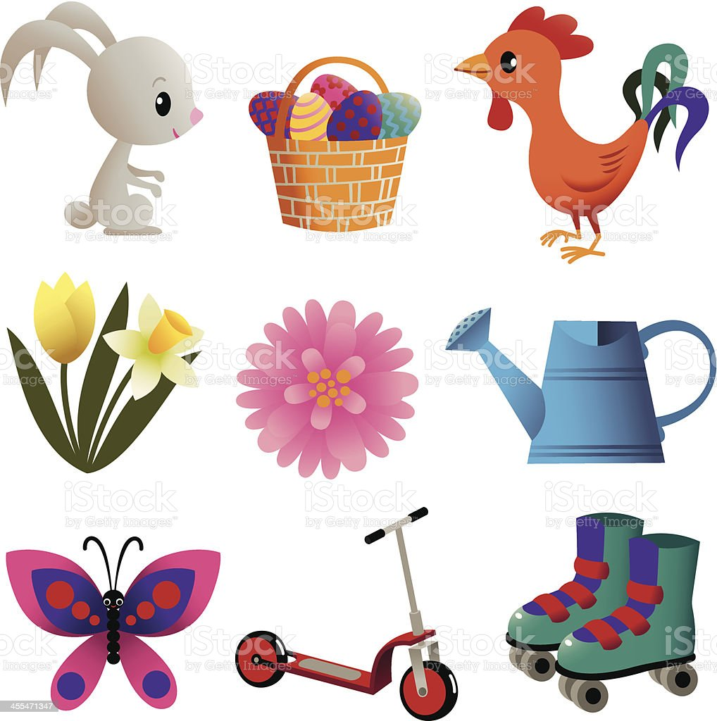 Set of Spring Stuff. royalty-free stock vector art
