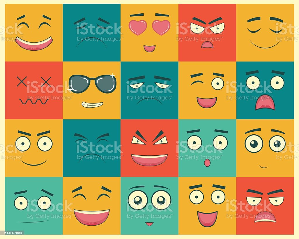 Set of square emoticons. Emoticon for web site, chat, sms. royalty-free stock vector art